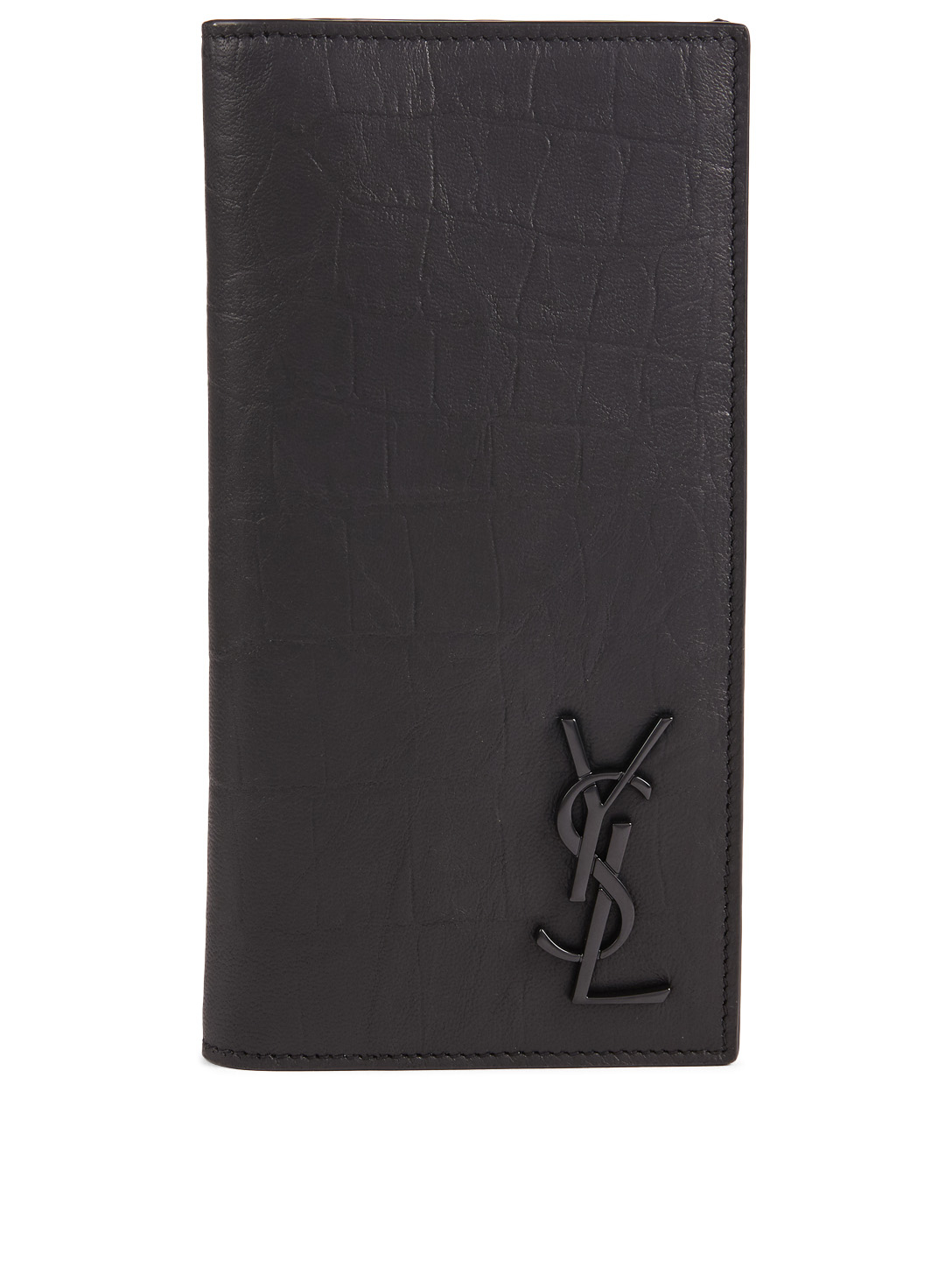 e58048cfdb4 SAINT LAURENT Monogram Croc-Embossed Leather Wallet Men's Black ...
