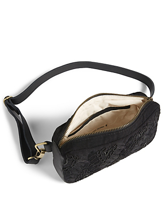 MERCADO GLOBAL Felipa Cotton Belt Bag With Beaded Embroidery H Project Black