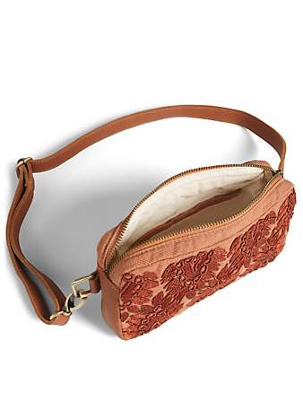 MERCADO GLOBAL Felipa Cotton Belt Bag With Beaded Embroidery H Project Pink