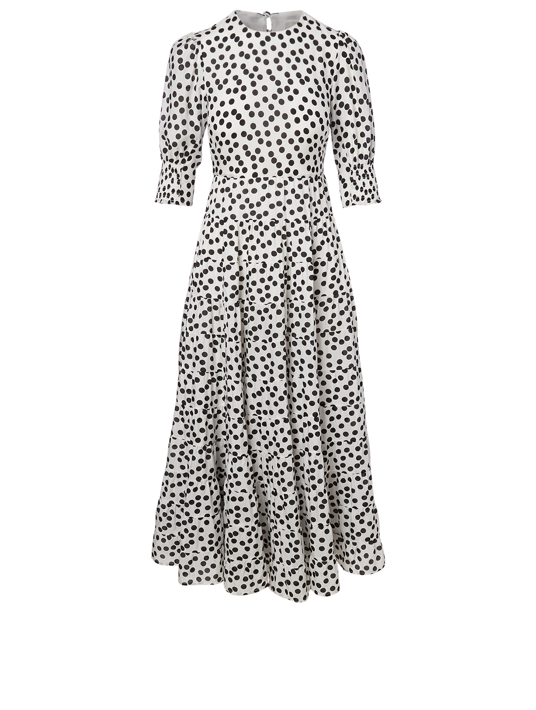 RIXO Agyness Silk-Blend Dress In Polka Dot Print Women's Black