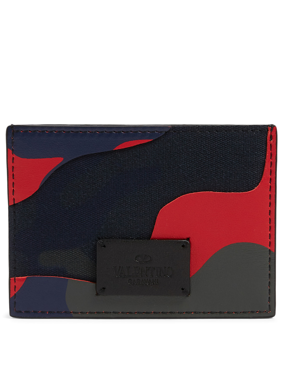 VALENTINO GARAVANI Leather And Canvas Card Holder In Camo Print Men's Multi