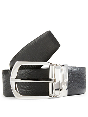 ERMENEGILDO ZEGNA Reversible Formal Leather Belt Men's Black