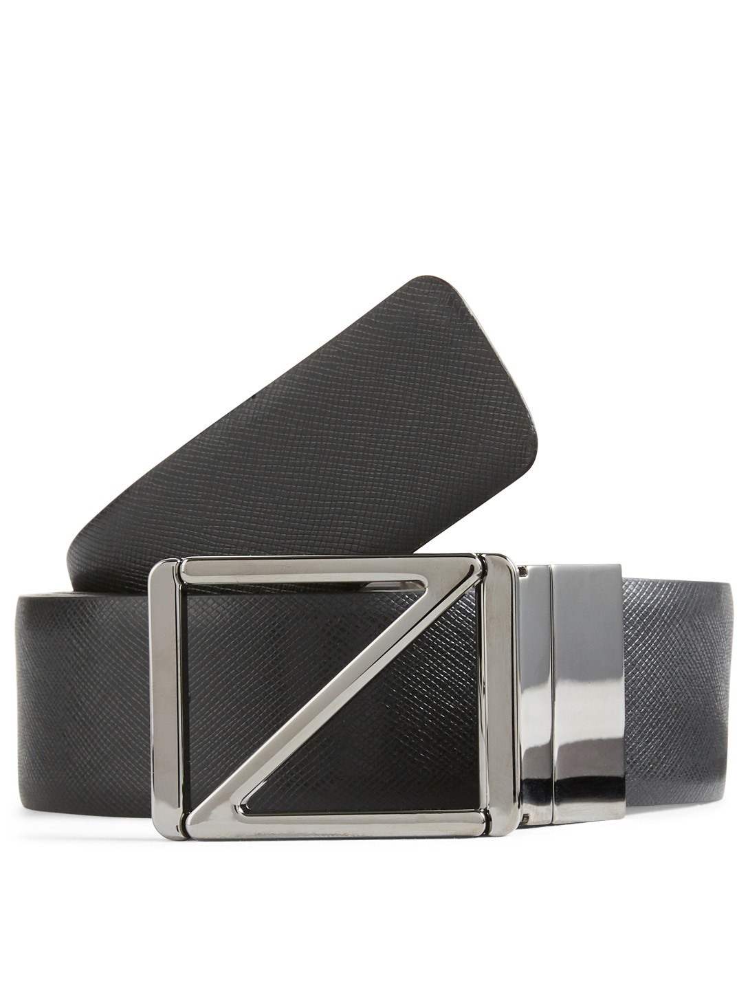 ERMENEGILDO ZEGNA Reversible Leather Logo Belt Men's Black