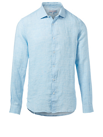 ORLEBAR BROWN Giles Tailored-Fit Linen Shirt Men's Blue