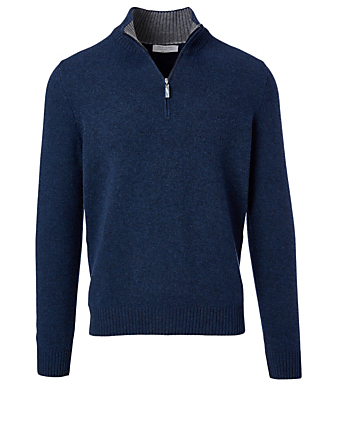 GRAN SASSO Wool And Cashmere Zip Pullover Men's Blue