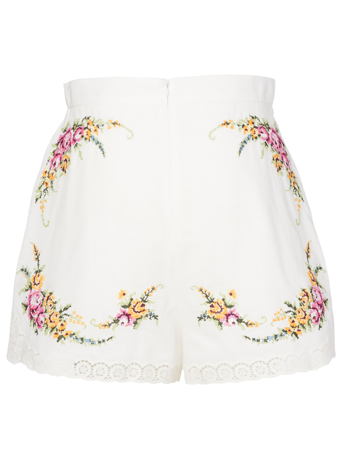 ZIMMERMANN Short Allia en mélange de lin à point de croix Femmes Blanc