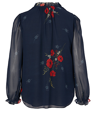 JOIE Rafaella Silk Blouse In Floral Print Women's Blue