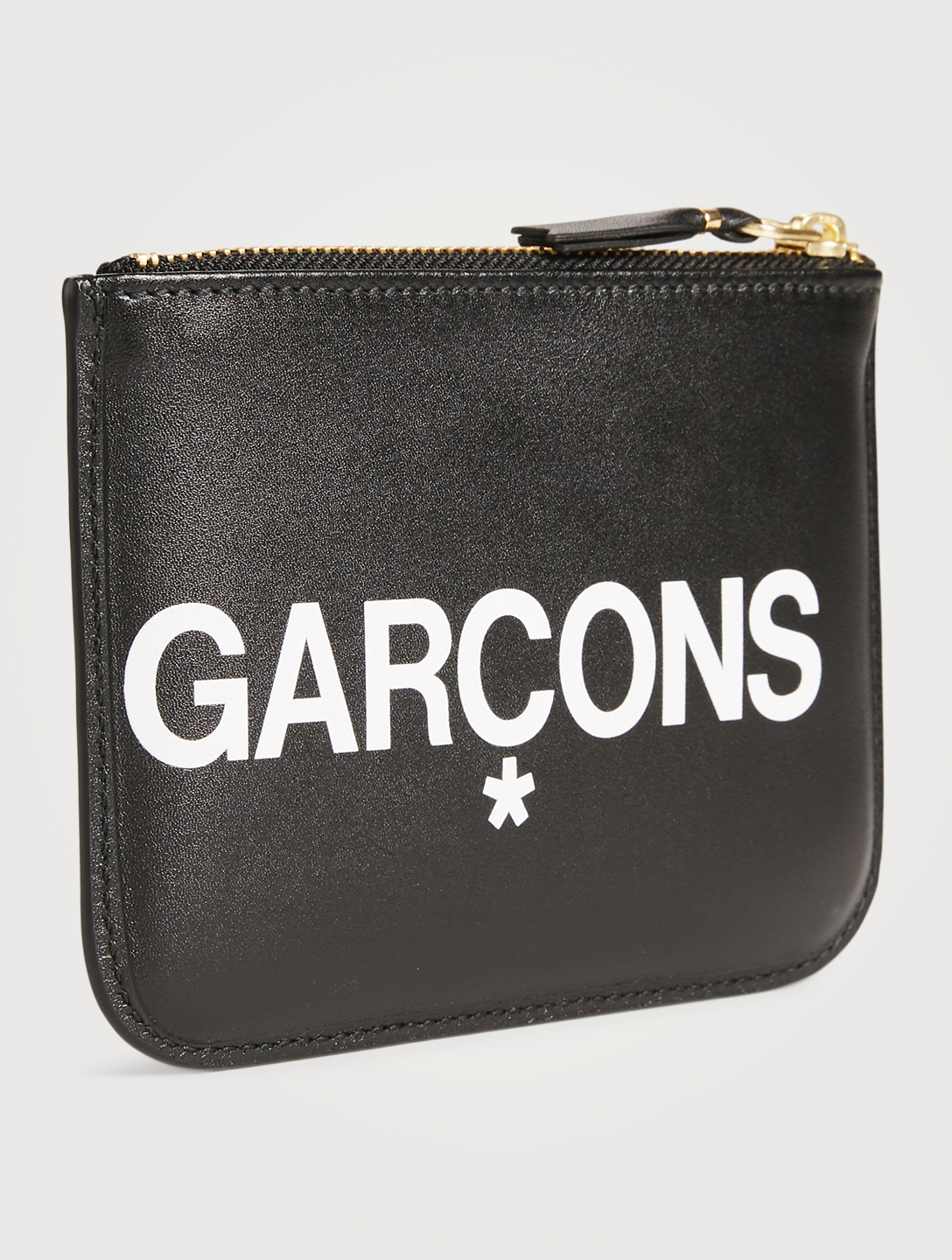 COMME DES GARÇONS Small Huge Logo Leather Pouch Men's Black