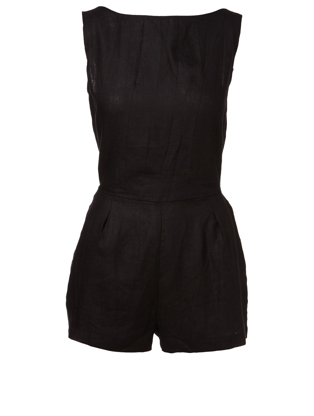 VITAMIN A Martinique Linen Romper H Project Black