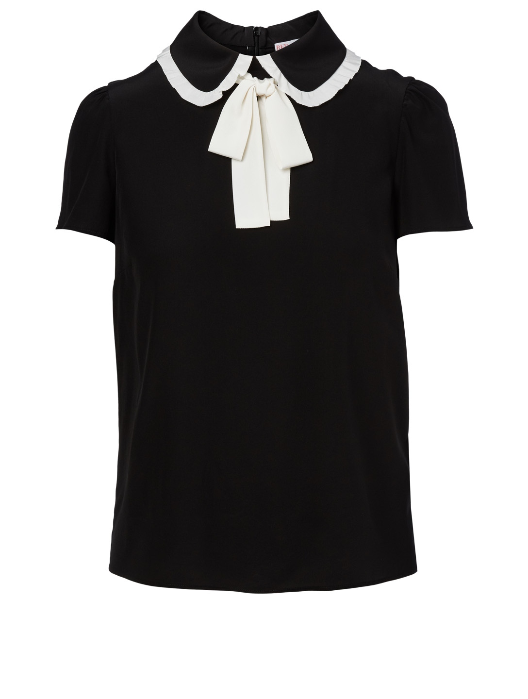 RED VALENTINO Silk Top With Bow Women's Black