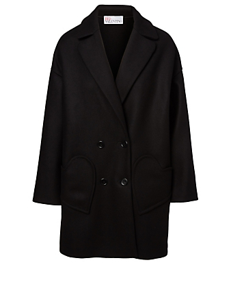 RED VALENTINO Wool-Blend Heart Coat Women's Black