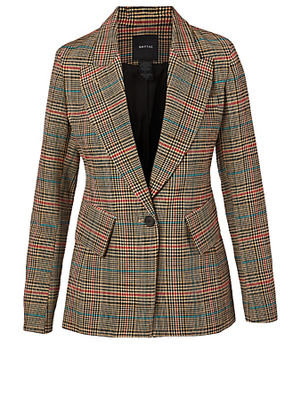 SMYTHE Lounge Cotton-Blend Blazer In Check Print Women's Multi