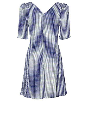 STAUD Frites Mini Dress In Gingham Print Women's Blue