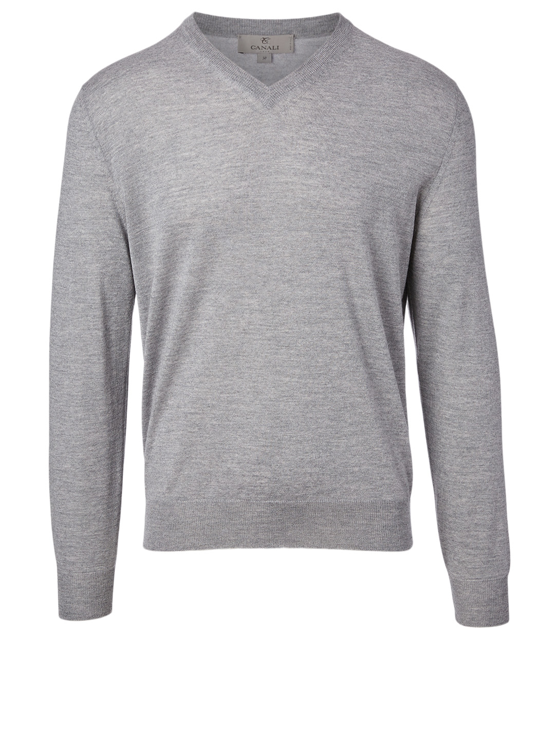 CANALI Wool V-Neck Sweater Men's Grey