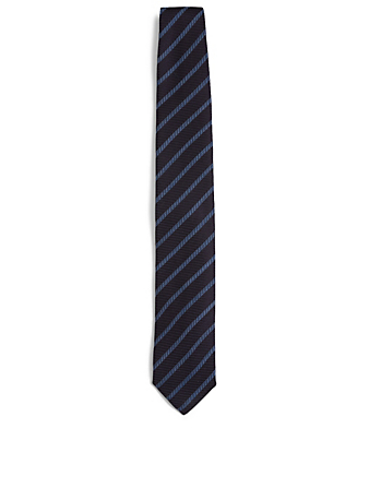 CANALI Striped Silk And Wool Tie Men's Blue