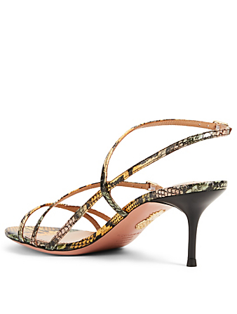 AQUAZZURA Carolyne 60 Snakeskin Heeled Sandals Women's Multi