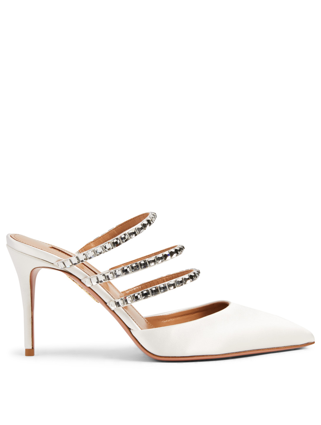 AQUAZZURA Donata 85 Satin Mules With Crystal Bands Women's White