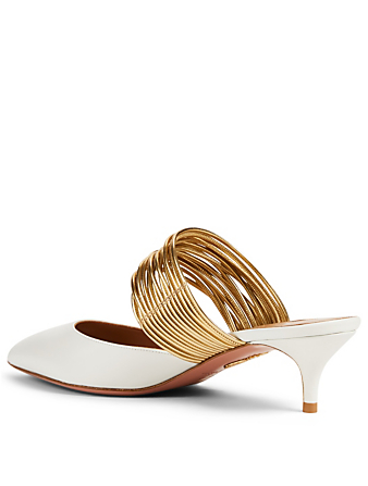 AQUAZZURA Rendez Vous 45 Leather Kitten Heel Mules Women's White