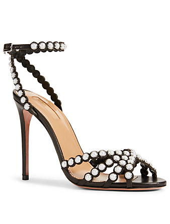 AQUAZZURA Pearl 105 Leather Heeled Sandals Women's Black