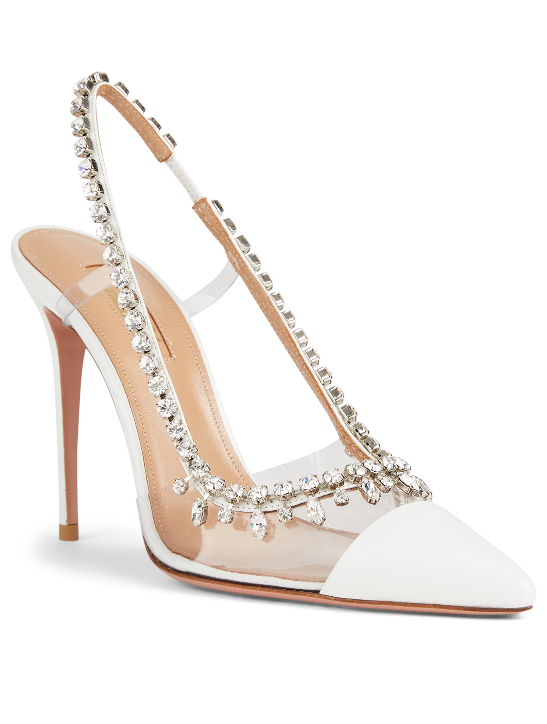 AQUAZZURA Temptation 105 PVC And Leather Slingback Pumps With Crystals Women's White