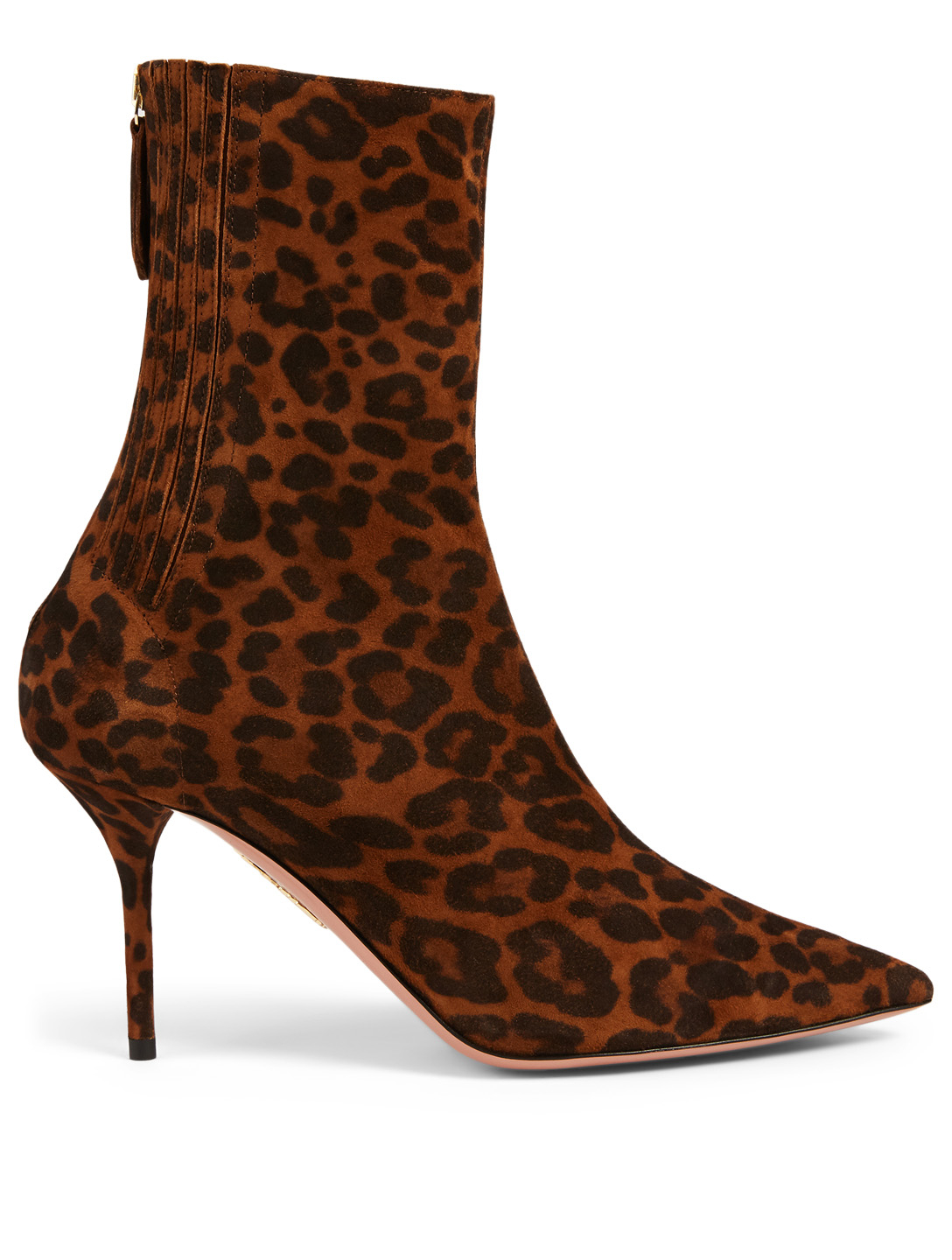 AQUAZZURA Saint Honore' 85 Suede Ankle Boots  In Leopard Print Women's Brown