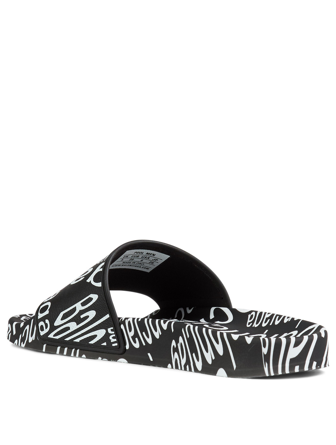 BALENCIAGA Logo Wave Pool Slide Sandals Men's Black