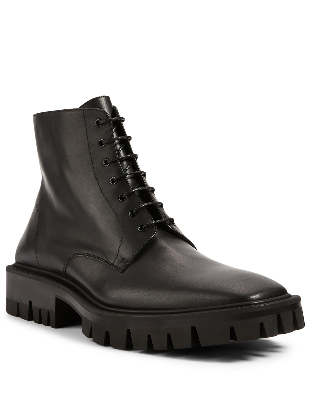 BALENCIAGA Outdoor Rim Leather Lace-Up Ankle Boots Men's Black