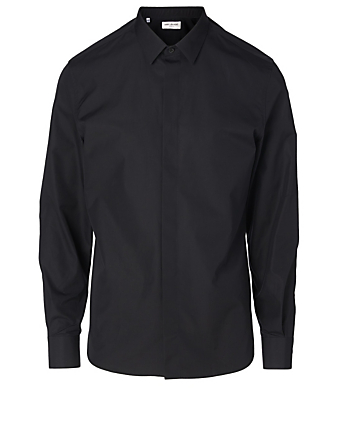 SAINT LAURENT Cotton Poplin Shirt Men's Black