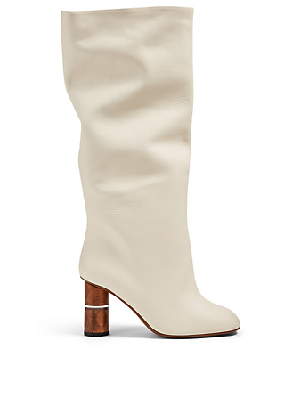 NEOUS Kingeria Leather Heeled Knee-High Boots Women's White