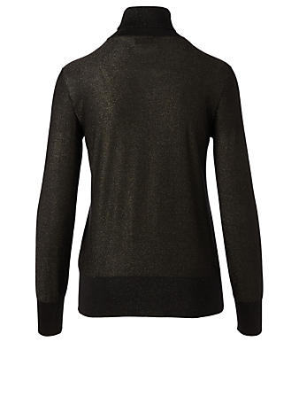 AKRIS Silk-Blend Turtleneck Top Women's Black