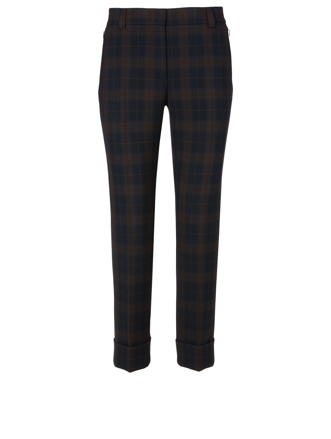 AKRIS Cropped Pants In Plaid Print Women's Blue