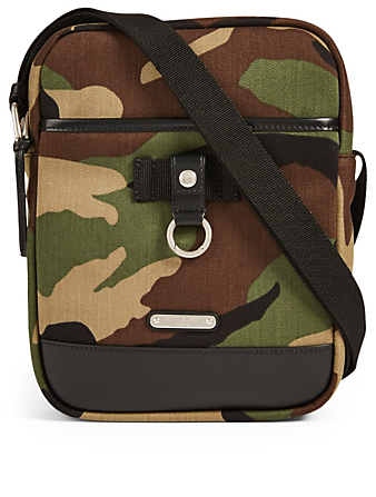 SAINT LAURENT Canvas Crossbody Bag In Camo Print Men's Green