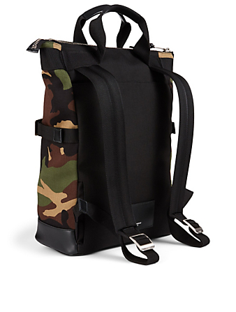 SAINT LAURENT Convertible Rivington Race Backpack In Camo Print Men's Green