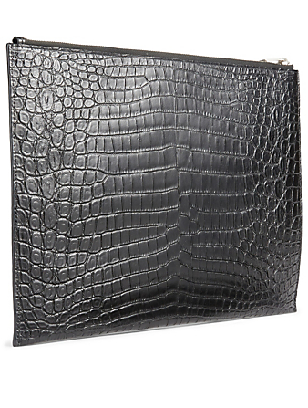 SAINT LAURENT Croc-Embossed Leather Pouch Men's Black