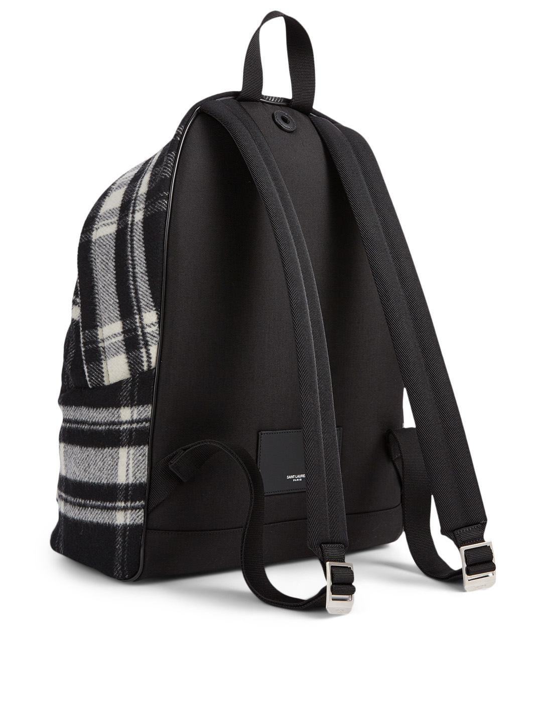 SAINT LAURENT City Flannel Wool Backpack In Check Men's Multi