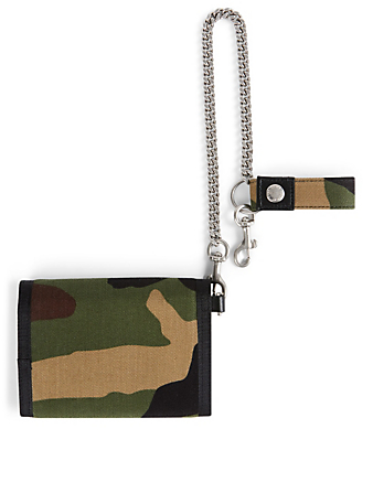 SAINT LAURENT Canvas Chain Wallet In Camo Print Men's Green