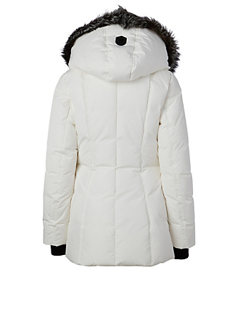 MACKAGE Adali Down Coat With Silver Fox Collar Women's White