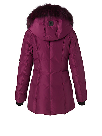 MACKAGE Adali Down Coat With Silver Fox Collar Women's Purple