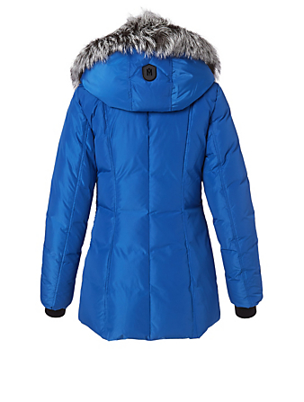 MACKAGE Adali Down Coat With Silver Fox Collar Women's Blue