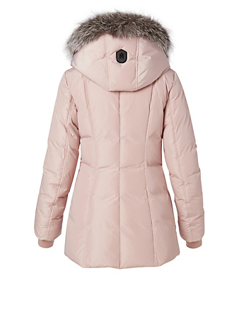 MACKAGE Adali Down Coat With Silver Fox Collar Women's Pink