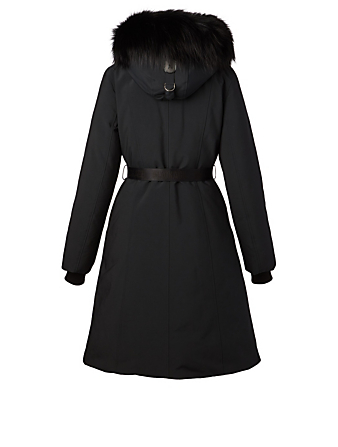 MACKAGE Kailyn Down Coat With Silver Fox Hood Women's Black
