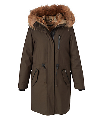 MACKAGE Rena Down Parka With Fur Hood Women's Green