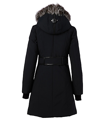 MACKAGE Trish Down Coat With Silver Fox Hood Women's Black