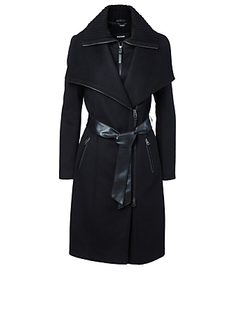 MACKAGE Nori Wool Coat With Leather Sash Belt Women's Black