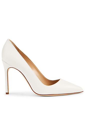 MANOLO BLAHNIK BB 105 Leather Pumps Women's White