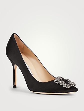 MANOLO BLAHNIK Hangisi 105 Satin Pumps Women's Black