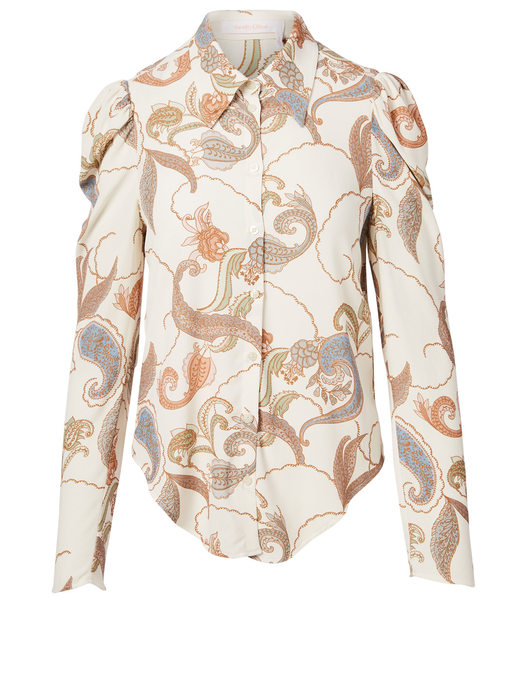 SEE BY CHLOÉ Puff-Shoulder Blouse In Paisley Print Women's White