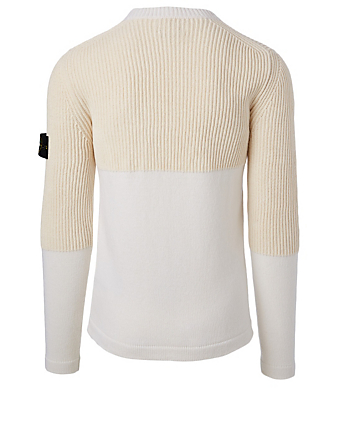 STONE ISLAND Wool-Blend Crewneck Sweater Men's White