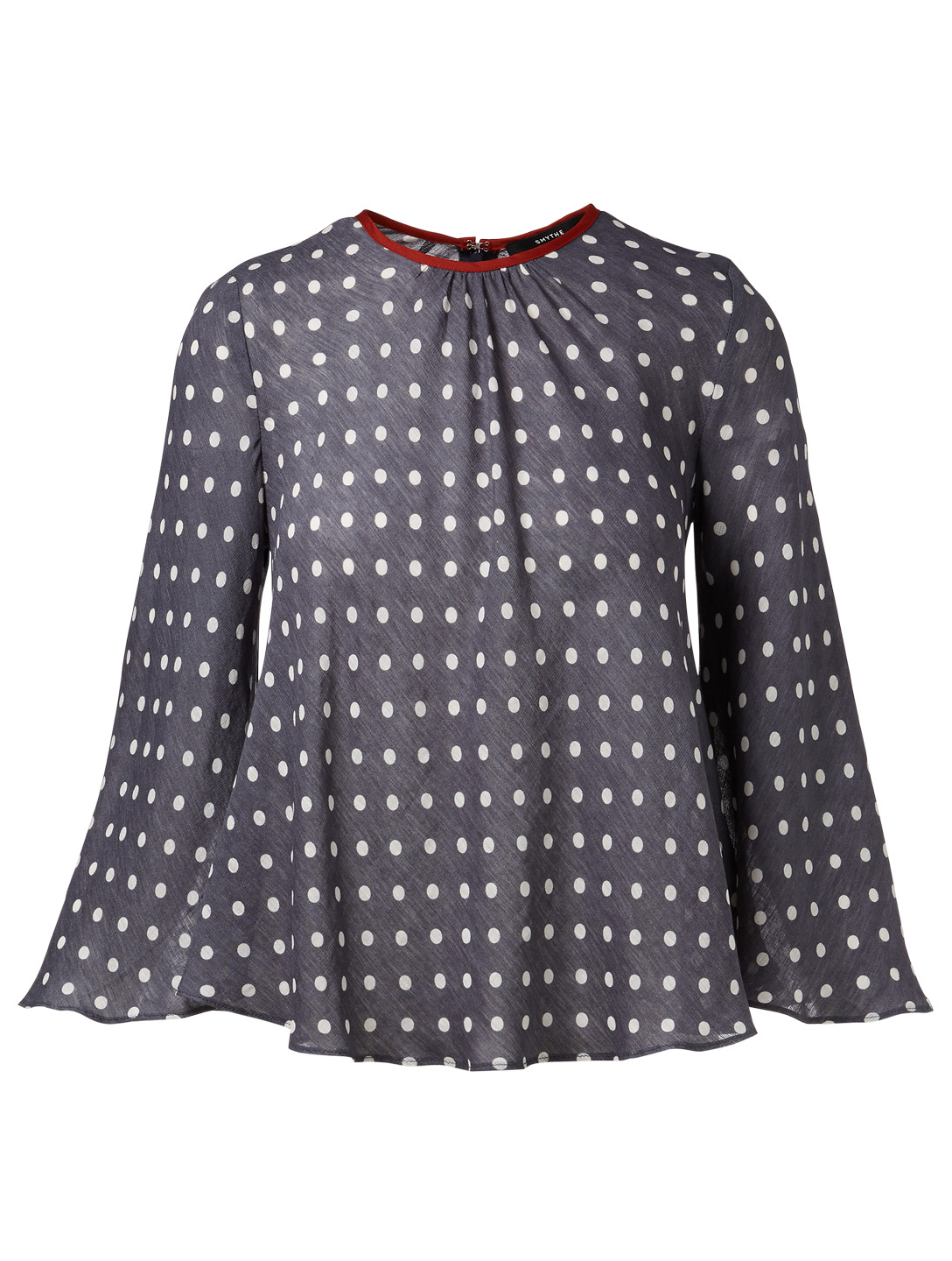 SMYTHE Bardot Blouse In Polka Dot Print Women's Blue