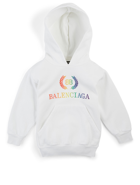 fashion discount shop new lifestyle BALENCIAGA Kids Rainbow Logo Hoodie | Holt Renfrew
